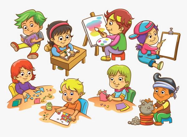 дети пишут и рисуют